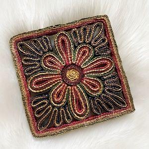 Vintage Colorful Woven Raffia Square Flower Trivet